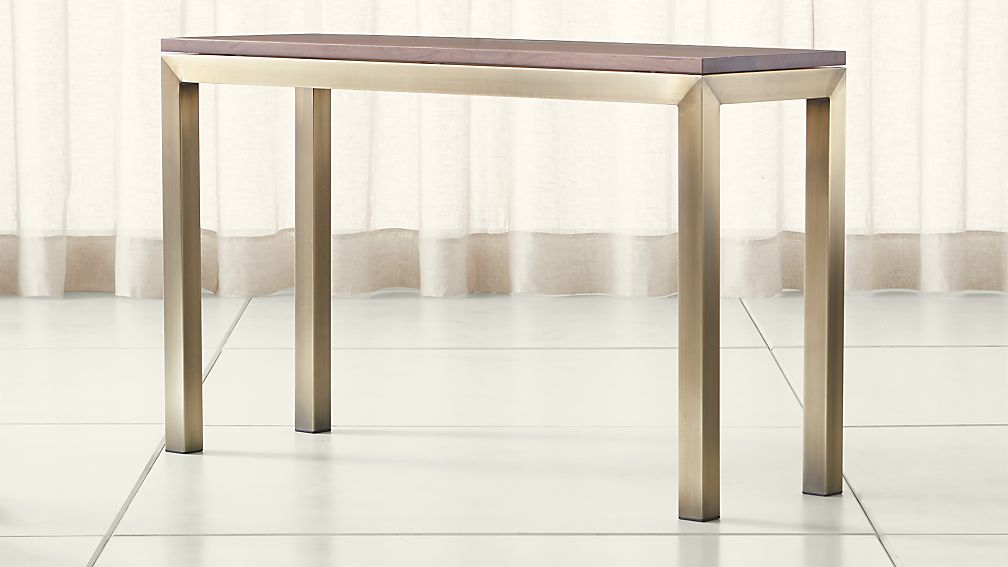 Parsons Walnut Top/ Brass Base 48x16 Console