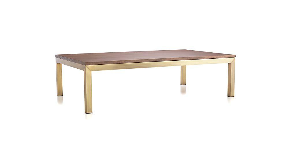 Parsons Walnut Top/ Brass Base 60x36 Large Rectangular Coffee Table