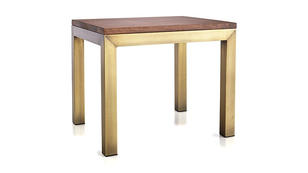 Parsons Walnut Top/ Brass Base 20x24 End Table