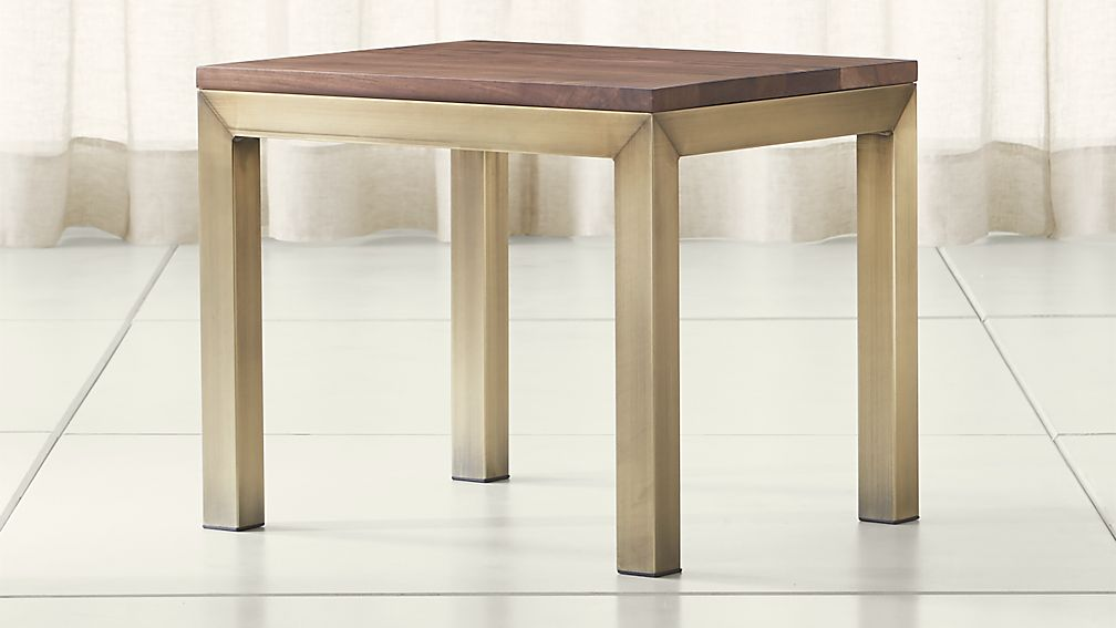 Parsons Walnut Top/ Brass Base 20x24 End Table - Image 1 of 4
