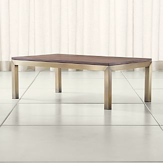 Parsons Walnut Top/ Brass Base 48x28 Small Rectangular Coffee Table