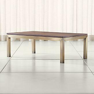 Parsons Walnut Top/ Brass Base 48x28 Small Rectangular Coffee Table