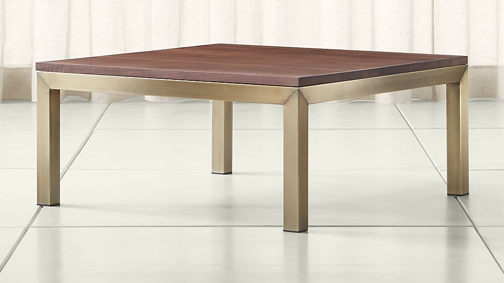 Parsons Walnut Top Brass Base 36x36 Square Coffee Table Crate And Barrel