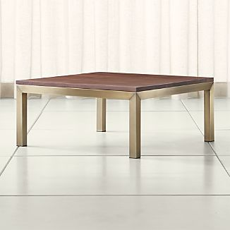 Parsons Walnut Top/ Brass Base 36x36 Square Coffee Table