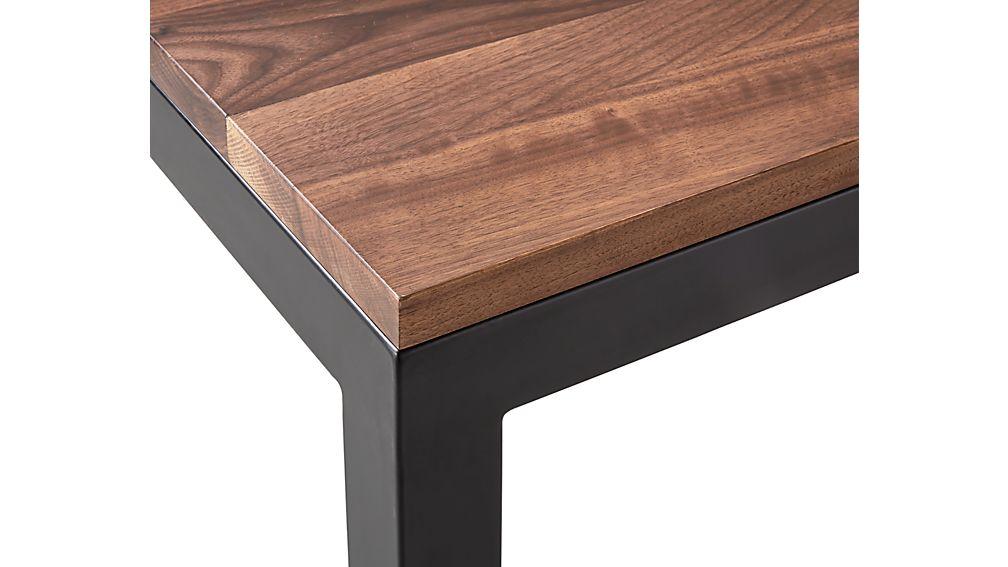 Parsons Walnut Top/ Dark Steel Base 48x28 Small Rectangular Coffee Table