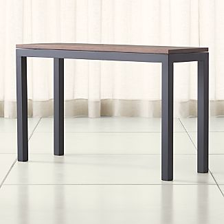 Parsons Walnut Top/ Dark Steel Base 48x16 Console
