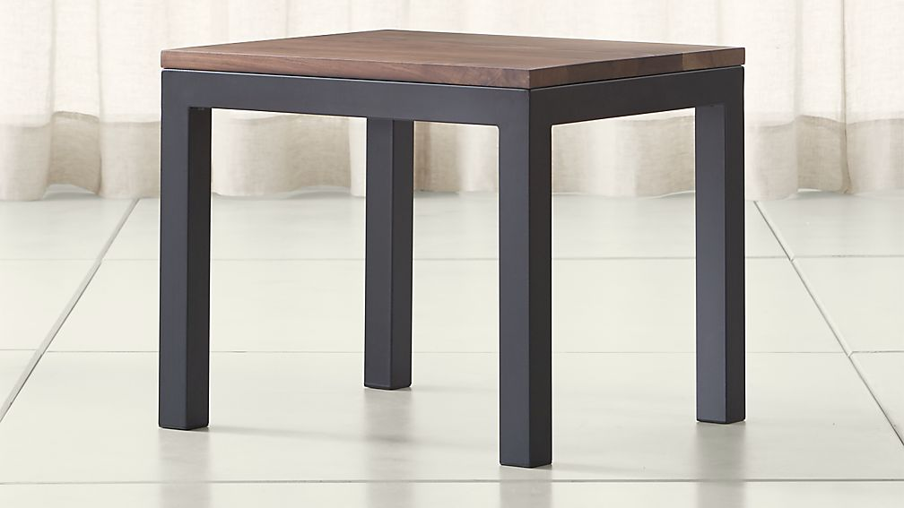 Parsons Walnut Top/ Dark Steel Base 20x24 End Table