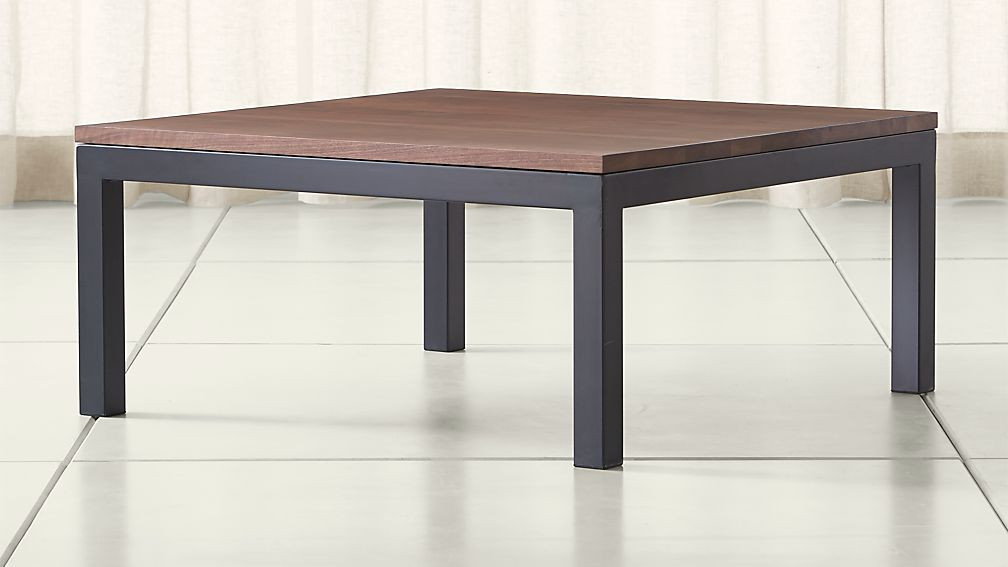 Parsons Walnut Top Dark Steel Base 36x36 Square Coffee Table Crate And Barrel