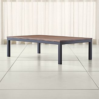 Parsons Walnut Top/ Dark Steel Base 60x36 Large Rectangular Coffee Table