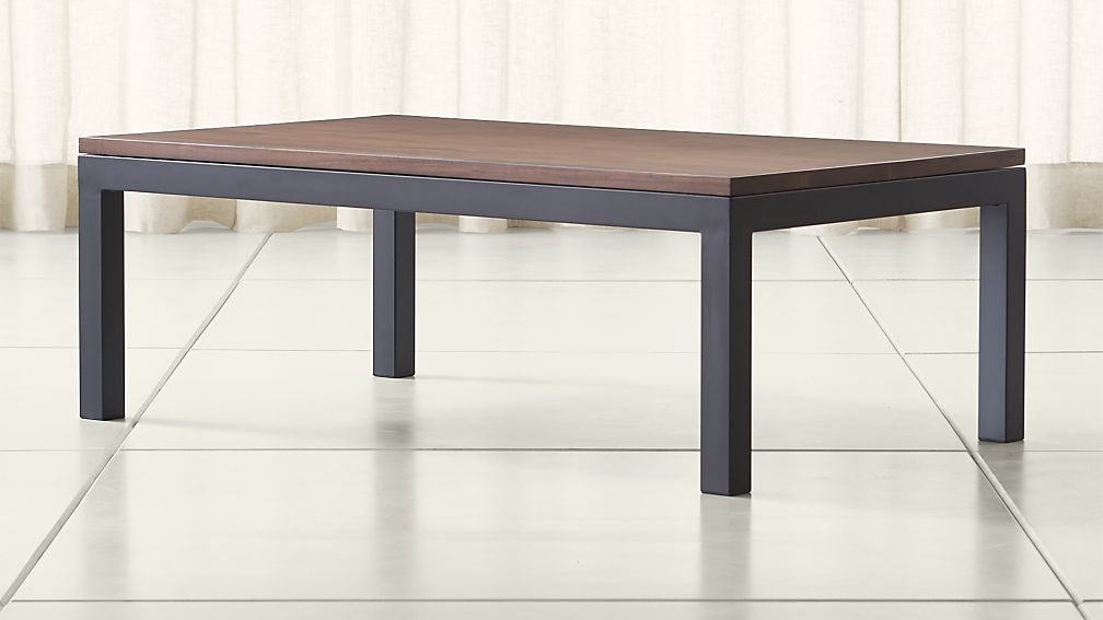 Parsons Walnut Top Dark Steel Base 48x28 Small Rectangular Coffee Table Reviews Crate And Barrel