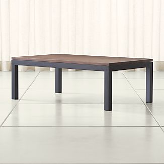 Parsons Walnut Top/ Dark Steel Base 48x28 Small Rectangular Coffee Table
