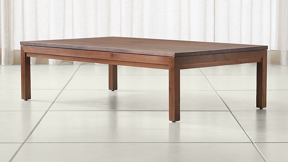 Parsons Walnut Top/ Elm Base 60x36 Large Rectangular Coffee Table