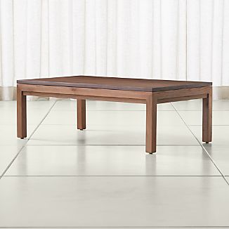 Parsons Walnut Top/ Elm Base 48x28 Small Rectangular Coffee Table