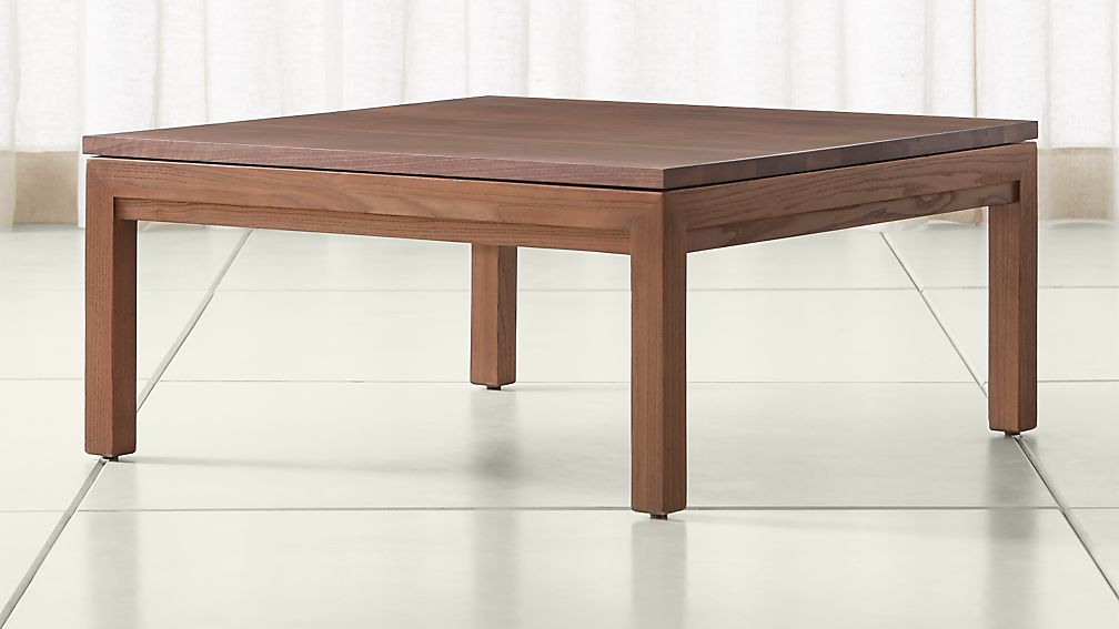 Parsons walnut top elm base 36x36 square coffee table for 36x36 coffee table