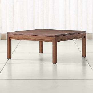 Parsons Walnut Top Elm Base 36x36 Square Coffee Table