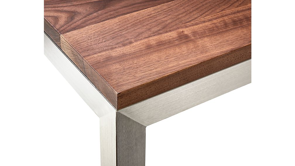Parsons Walnut Top/ Stainless Steel Base 60x36 Large Rectangular Coffee Table