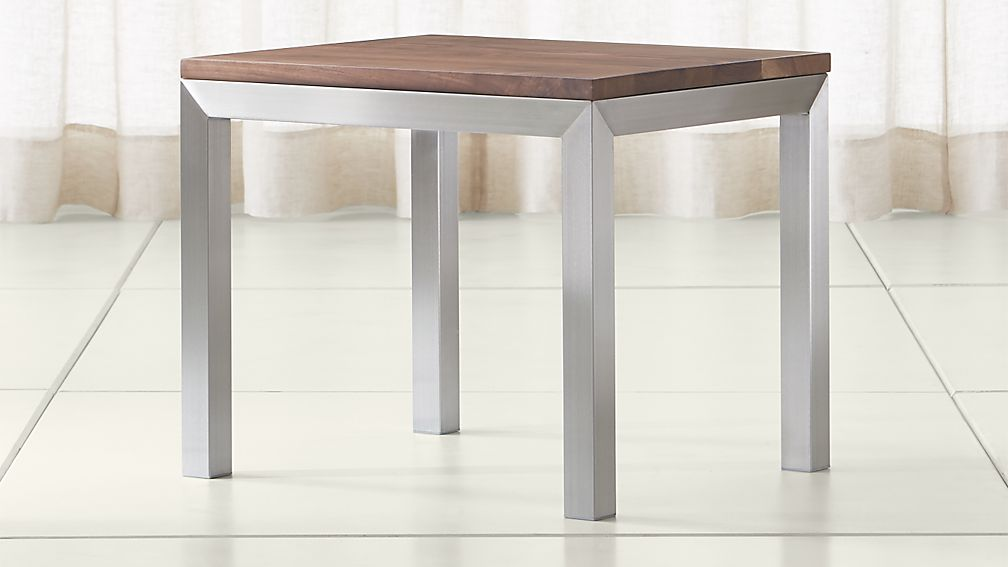 Parsons Walnut Top/ Stainless Steel Base 20x24 End Table - Image 1 of 4