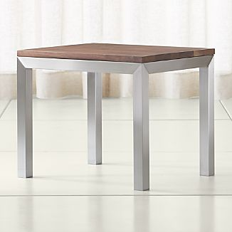 Parsons Walnut Top/ Stainless Steel Base 20x24 End Table