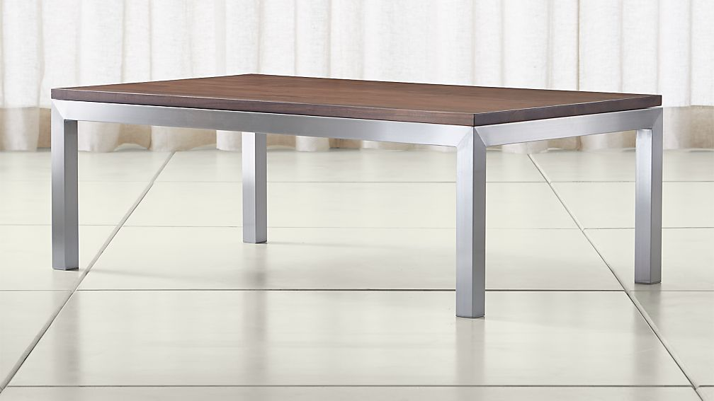 Parsons Walnut Top Stainless Steel Base 48x28 Small Rectangular Coffee Table Crate And Barrel