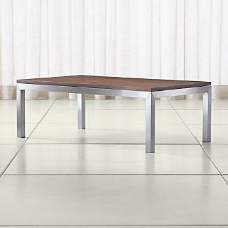 Parsons Walnut Top/ Stainless Steel Base 48x28 Small Rectangular Coffee Table