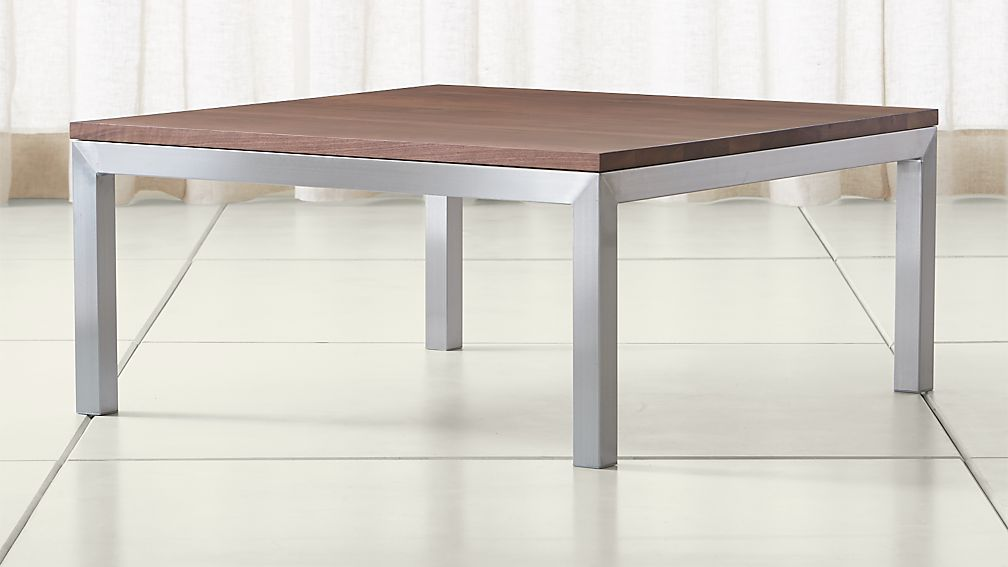 parsons walnut top/ stainless steel base 36x36 square coffee table