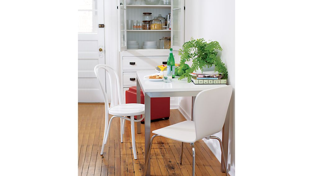 white wood dining table and chairs. ParsonsWhiteTopDinngTblJI13  SpanGatelegTableFelixFB11 HobbyTableFelixChairJB14 SpanGatelegTableAB11 ParsonsTableGlintFelixJL13 Felix White Dining Chair Crate and Barrel
