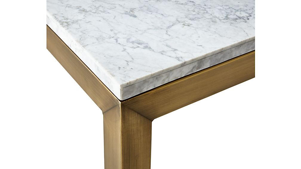 Parsons White Marble Top/ Brass Base 20x24 End Table