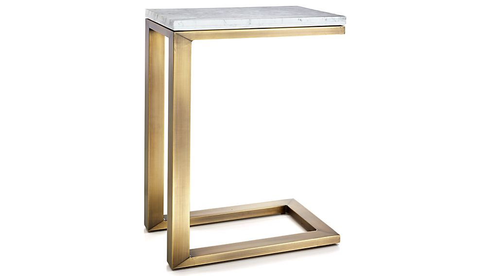 Parsons White Marble Top/ Brass Base 20x12 C Table