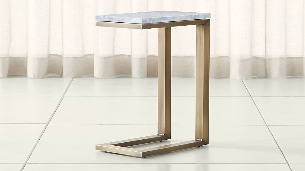 Parsons White Marble Top/ Brass Base 20x12 C Table ...