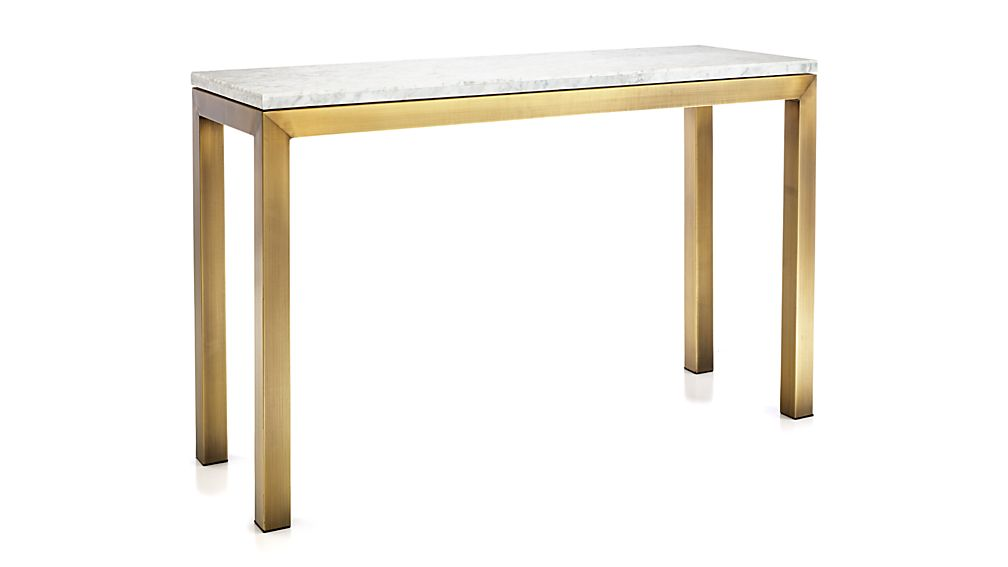 Parsons White Marble Top/ Brass Base 48x16 Console
