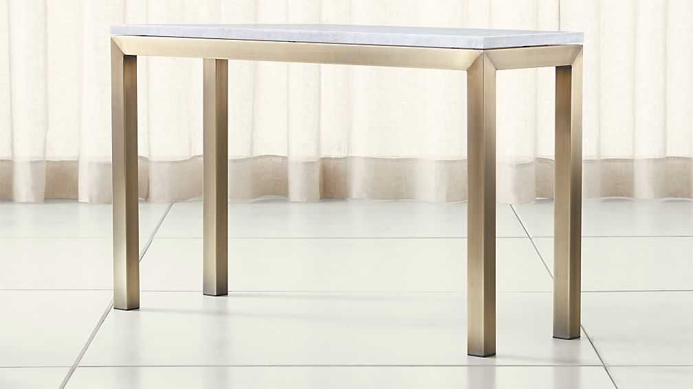 Parsons White Marble Top/ Brass Base 48x16 Console - Image 1 of 4