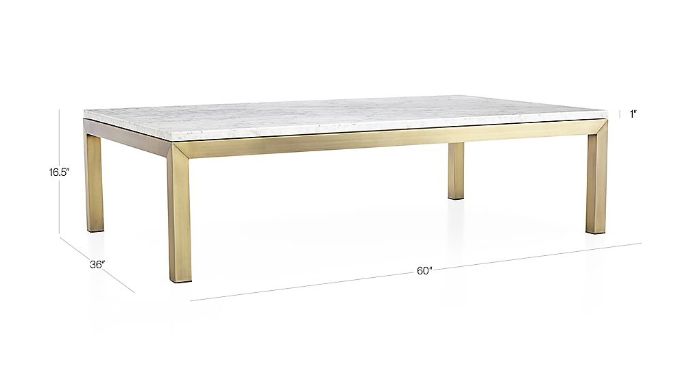 Marble Top Brass Coffee Table.Parsons White Marble Top Brass Base 60x36 Large Rectangular Coffee Table