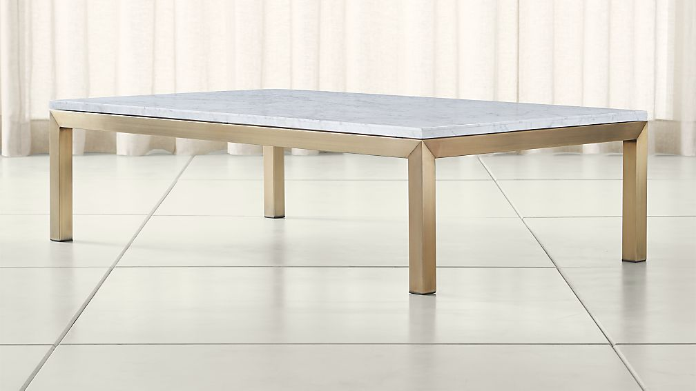 Parsons White Marble Top Br Base 60x36 Large Rectangular Coffee Table Reviews Crate And Barrel
