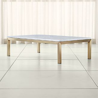 Parsons White Marble Top/ Brass Base 60x36 Large Rectangular Coffee Table