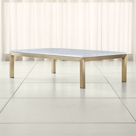 Parsons White Marble Top Br Base 60x36 Large Rectangular Coffee Table