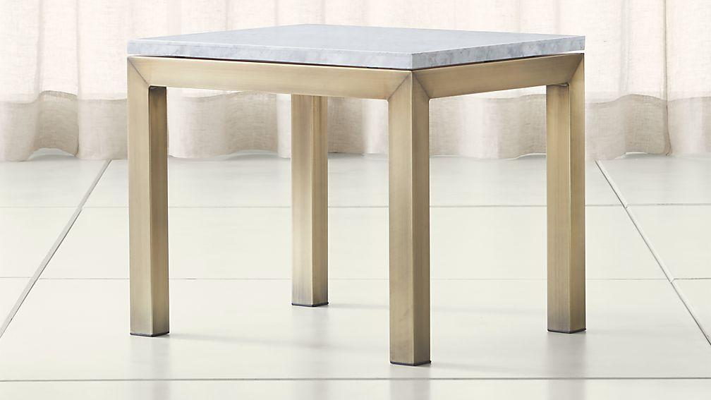 Parsons White Marble Top/ Brass Base 20x24 End Table - Image 1 of 4