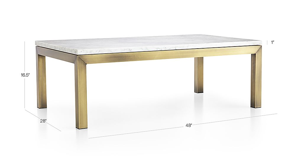 Parsons White Marble Top Brass Base 48x28 Small