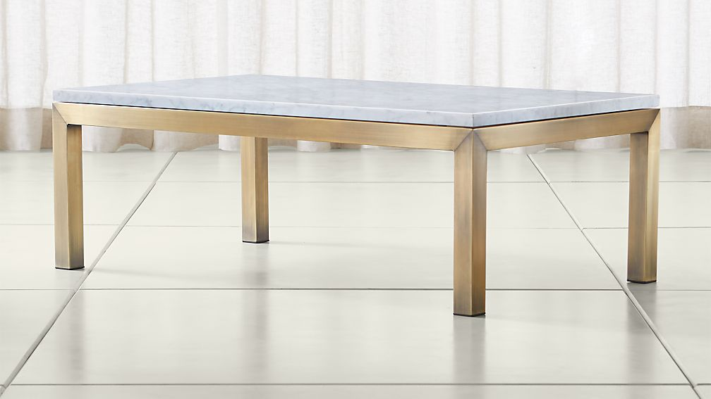 Parsons White Marble Top/ Brass Base 48x28 Small Rectangular Coffee Table - Image 1 of 4
