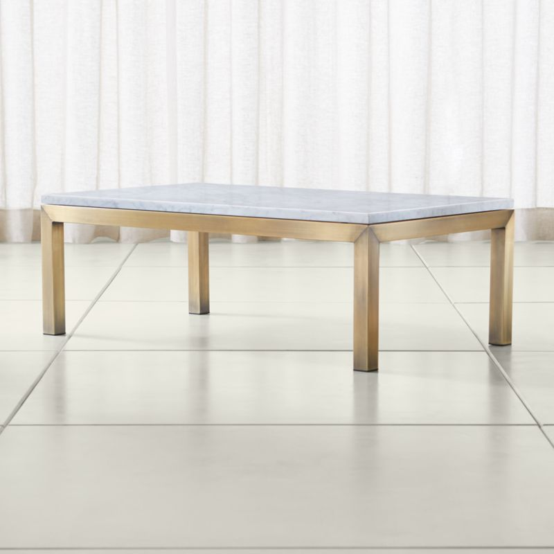 Marble Look Top Coffee Table: Parsons White Marble Top/ Brass Base 48x28 Small