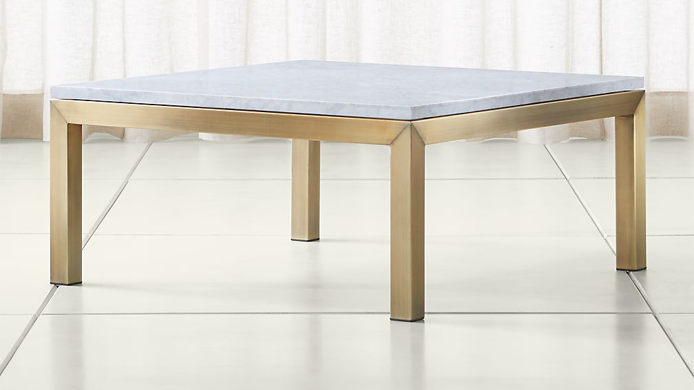 parsons white marble top/ brass base 36x36 square coffee table