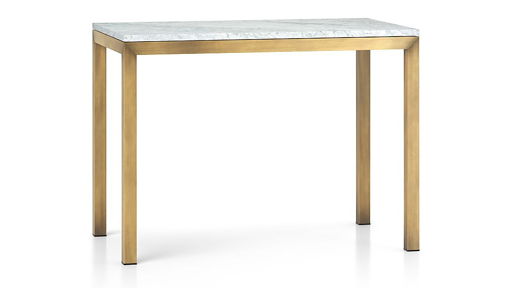 Parsons White Marble Top Br Base 48x28 High Dining Table Reviews Crate And Barrel