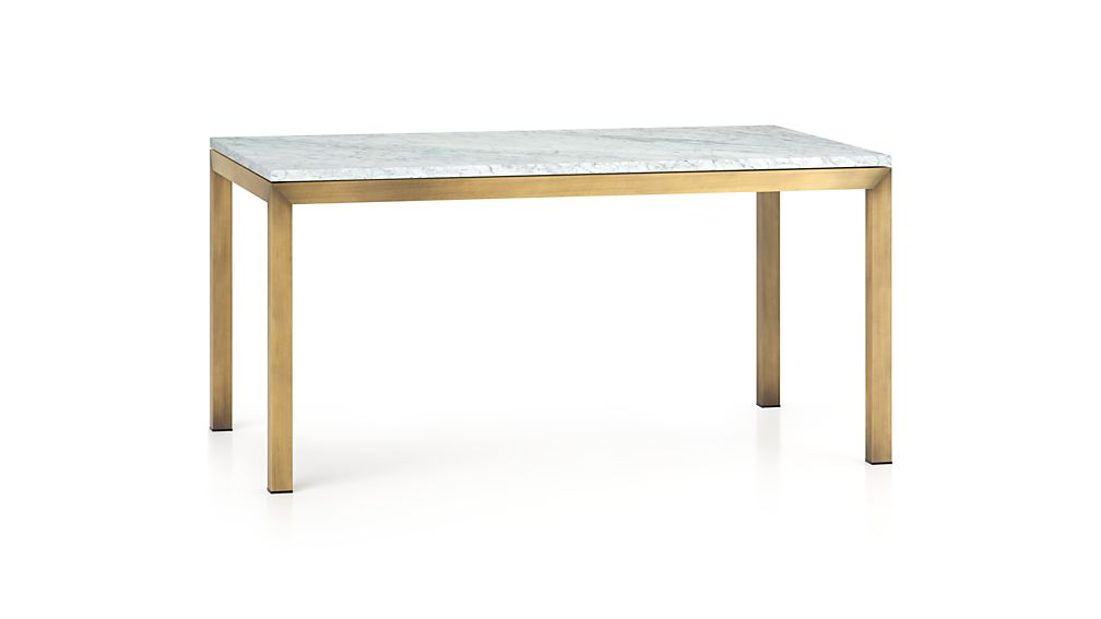 Parsons White Marble Top/ Brass Base 48x28 High Dining Table