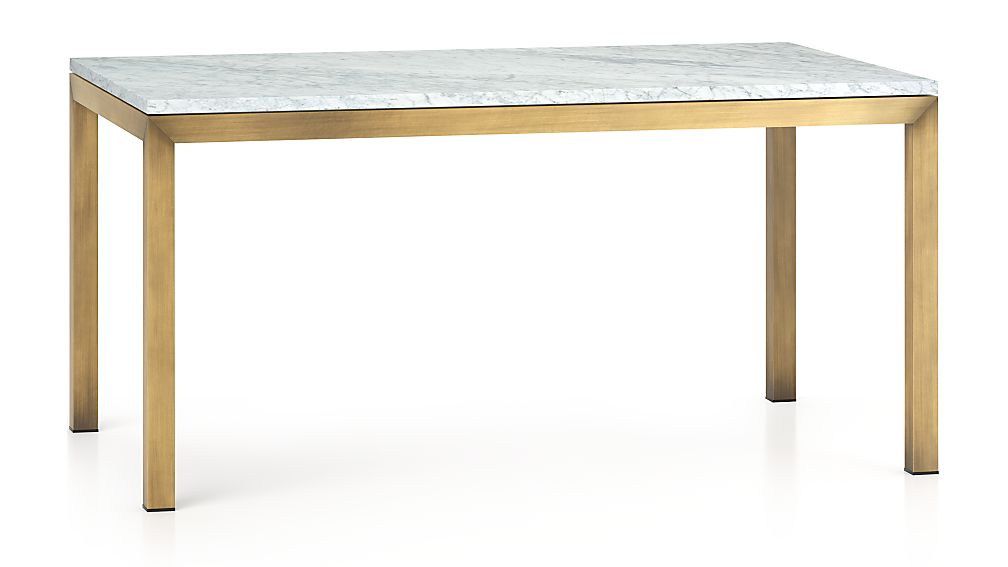 Parsons White Marble Top Brass Base 60x36 Dining Table