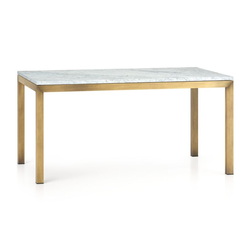 Parsons White Marble Top Brass Base 60x36 Dining Table Reviews Crate And Barrel Canada