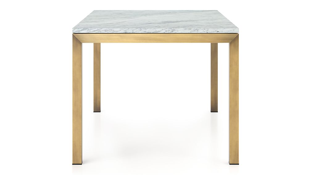Parsons White Marble Top/ Brass Base 72x42 Dining Table