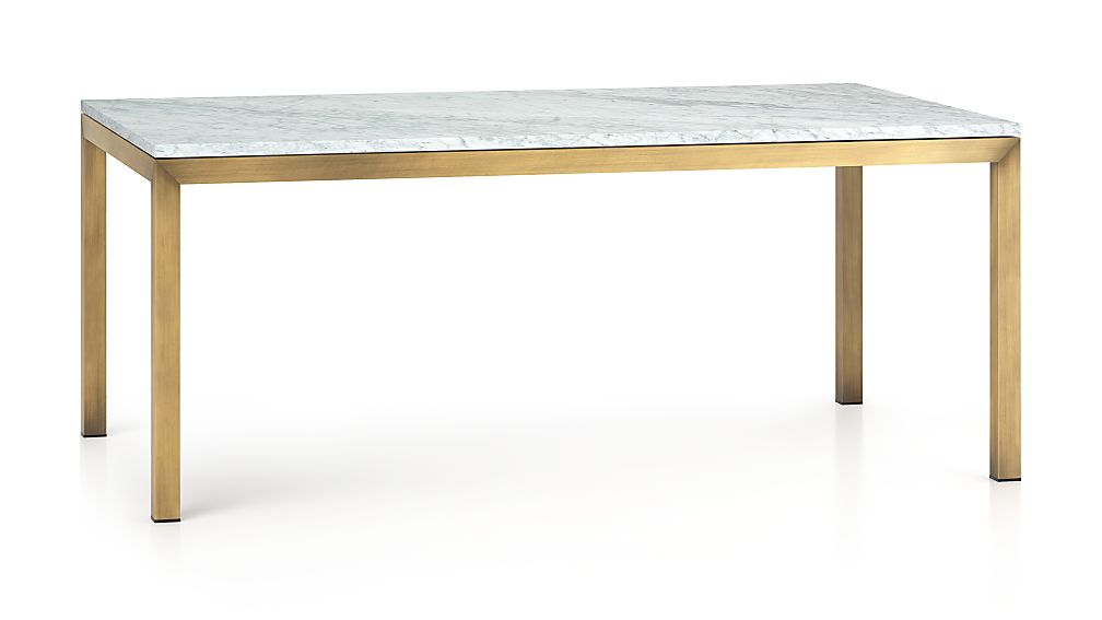 Parsons White Marble Top Br Base 72x42 Dining Table