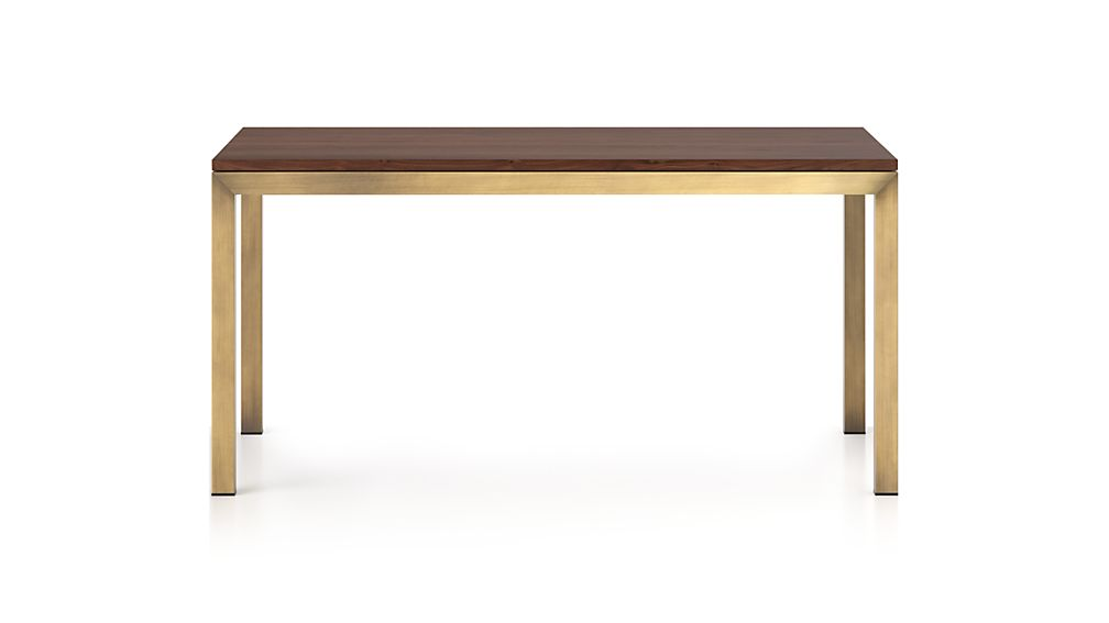 Parsons Walnut Top/ Brass Base 72x42 Dining Table