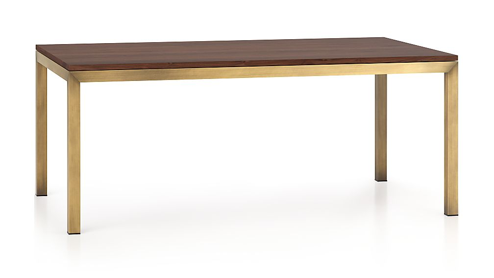 Parsons Walnut Top/ Brass Base 72x42 Dining Table - Image 1 of 7