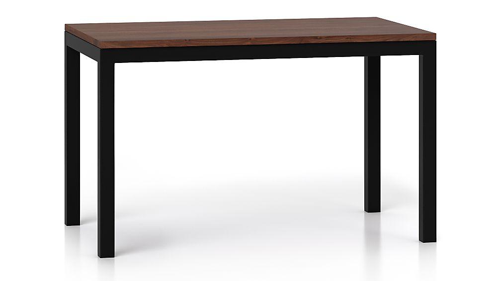 Parsons Walnut Top/ Dark Steel Base 48x28 Dining Table