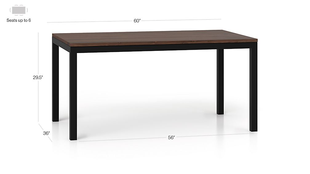 Parsons walnut top dark steel base 60x36 dining table crate and barrel - Crate and barrel parsons chair ...